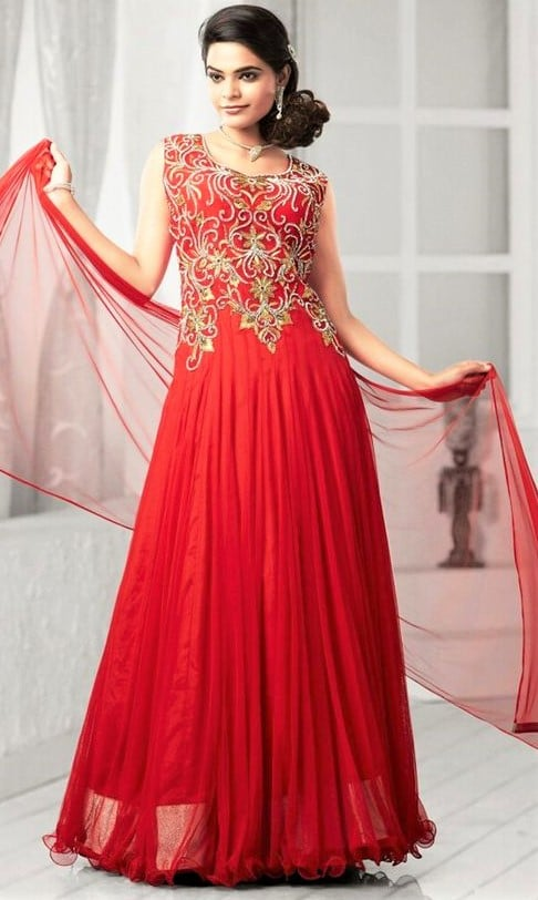 party red Frock Suit Sleeveless Pakistani for women