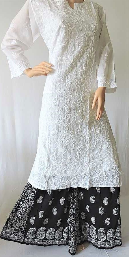 white Chikan Kurti Design 2019 for Ladies