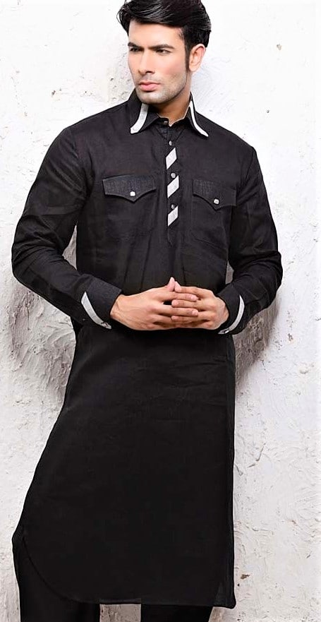 black color Double Pocket Kurtas