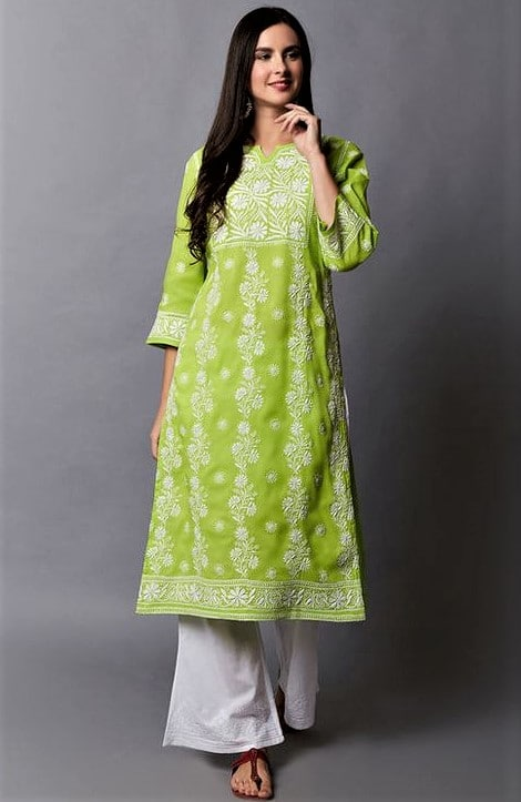 Green Chikan Kurti Design 2019 for girls