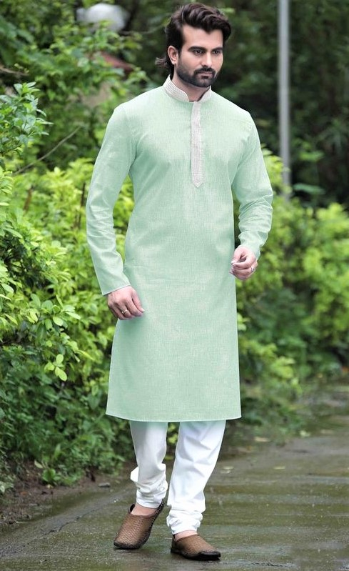 boys Ferozi color kurta and shalwar kameez