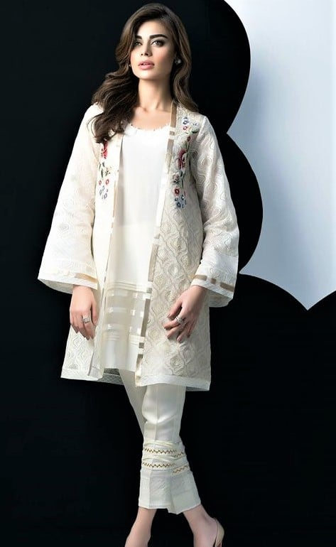 white jacket Kurtis Design Pakistani 2019 for Girls