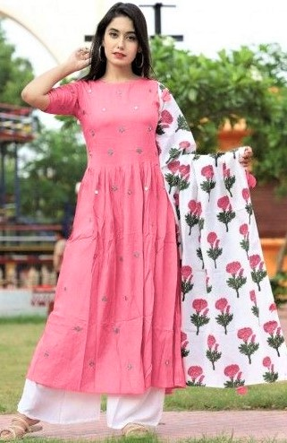 simple Frock Style Long Kurti Designs