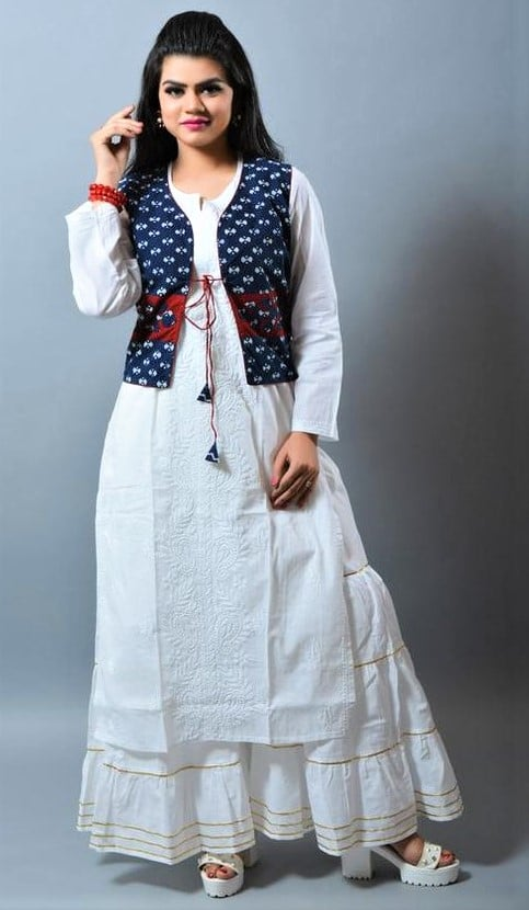 latest white Chikan Kurti Design Pakistani