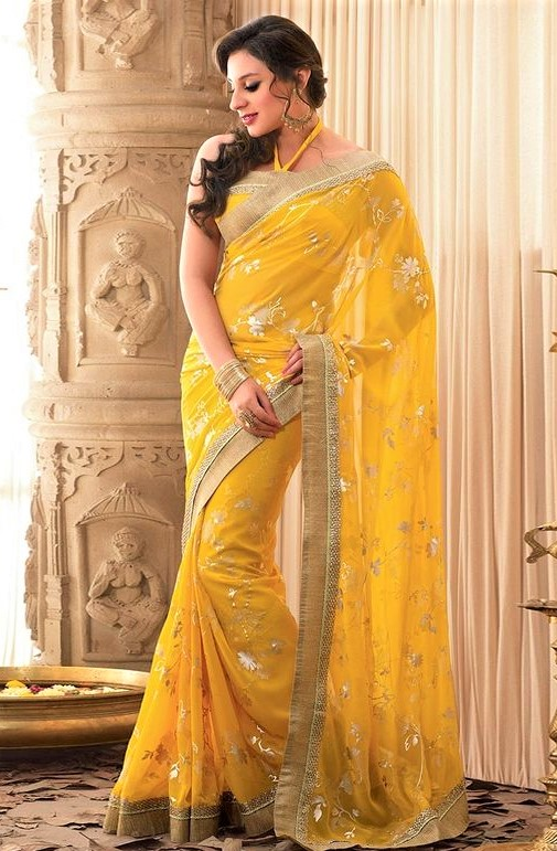 yellow Banarasi Saree Pakistani Knee Length Dresses