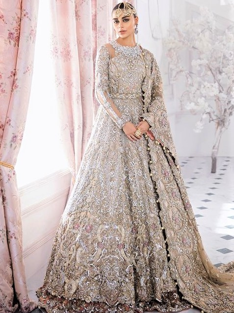 Halter Ball gown Stitching Style Pakistani Dresses Designs for wedding