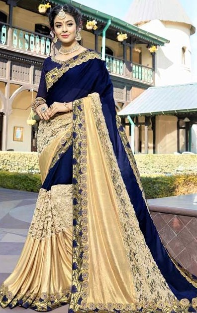 walima best Blue Golden Embroidery Saree