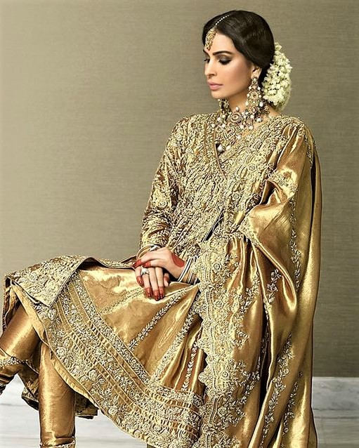 Gold Bridal Dresses Pakistani with Sleeves
