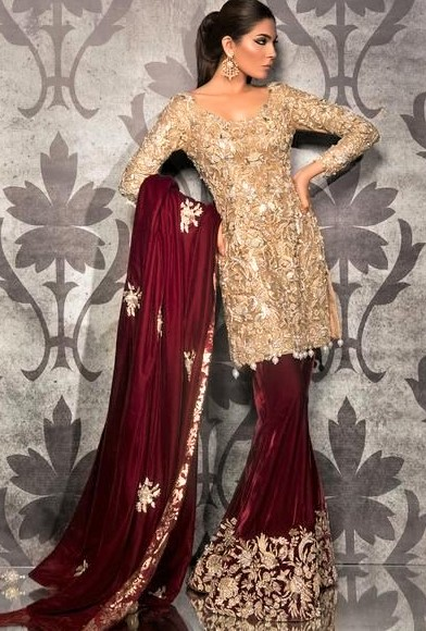 Gold Bridal Maxi Dresses Pakistani