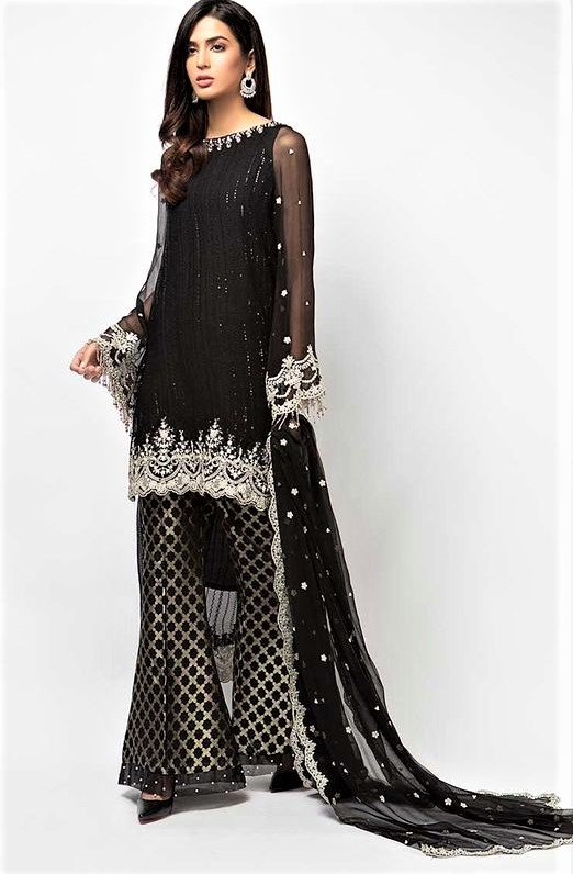 Black Long Sleeve Smock Dress Pakistani
