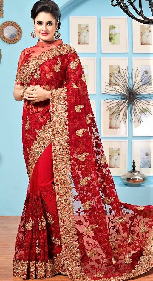 red Banarasi Saree Chiffon Dresses Pakistani 2019