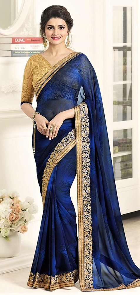 Blue Golden Embroidery Saree for wedding