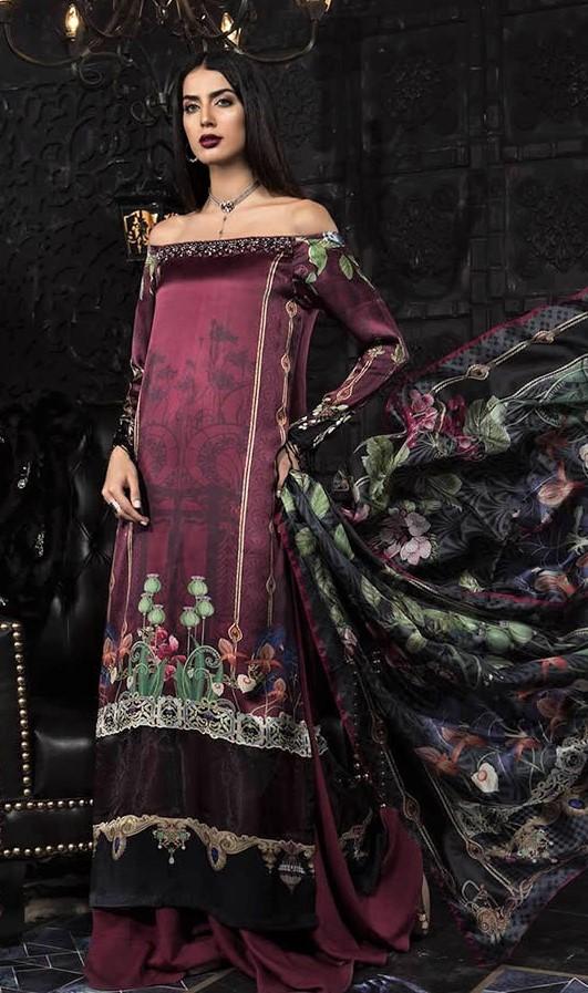 maria b digital prints Pakistani Silk Dress