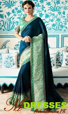 dark blue Silk Saree Embroidery Designs