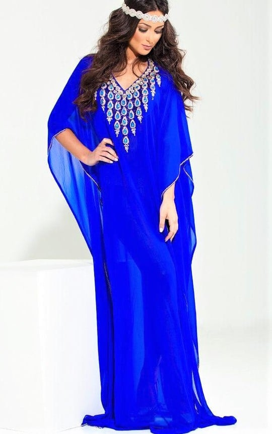 Kaftan Dress with Flower Embroidery