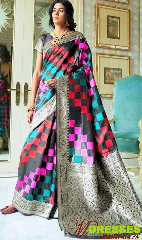 Multi color Bridal Silk Saree