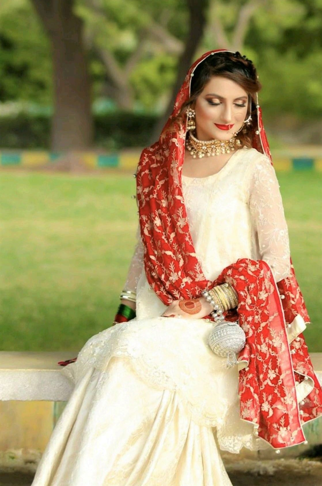 Red Dupatta and white dress for nikah