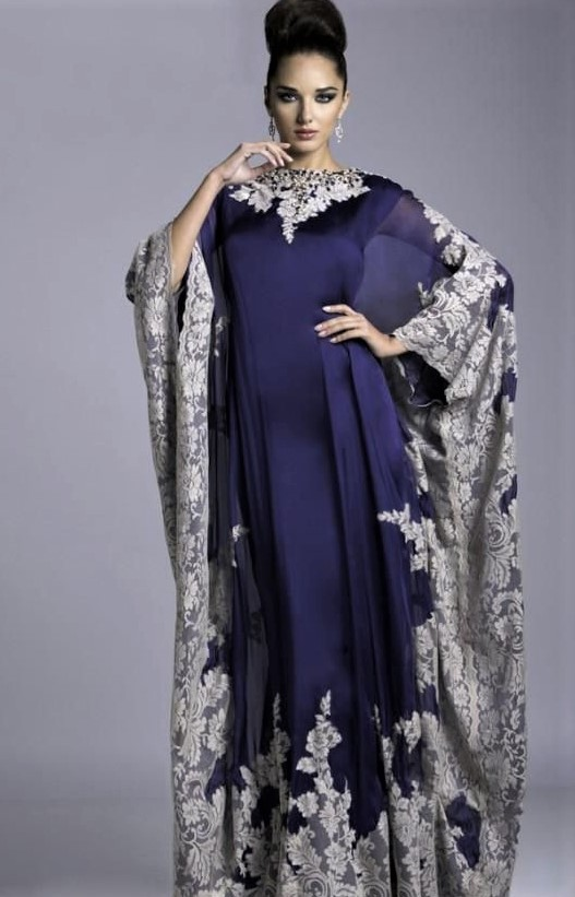 Kaftan Dress with Flower Embroidery for females