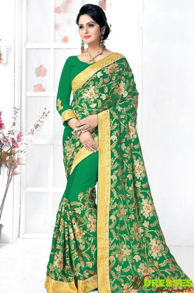 Embroidery Bridal Silk Saree for Wedding Party