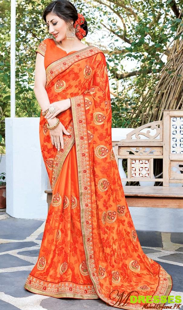 silk saree stone work for brides