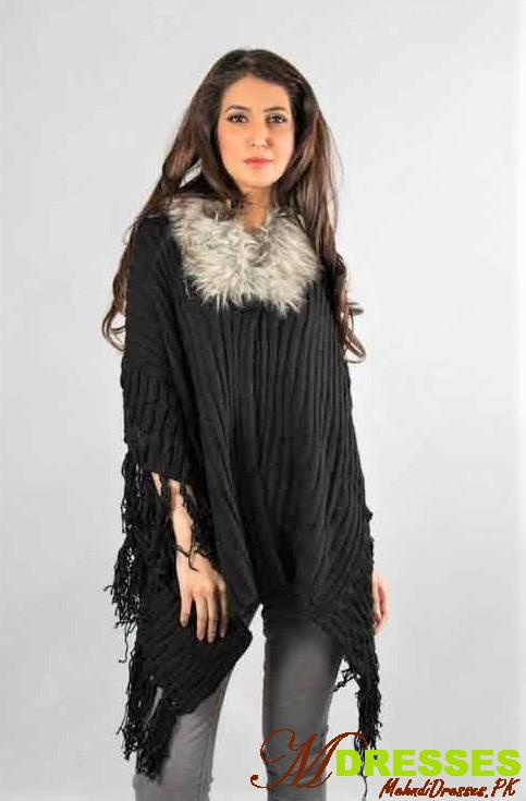women warm cape Winter Fashion in Pakistan