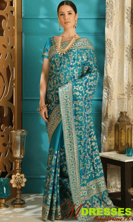 Stone work Bridal Silk Saree for Wedding Party