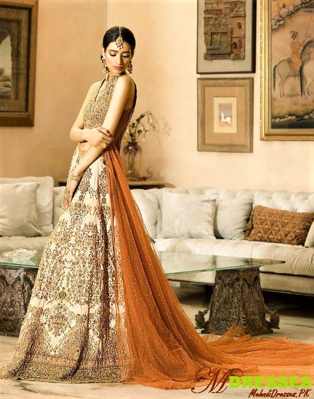 Pakistani long dresses for nikah
