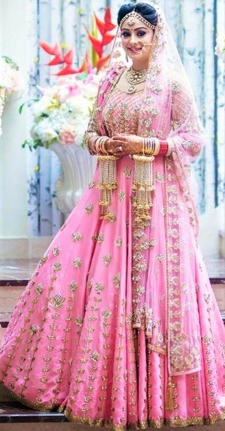 Pink cape train Winter Wedding outfits for brides
