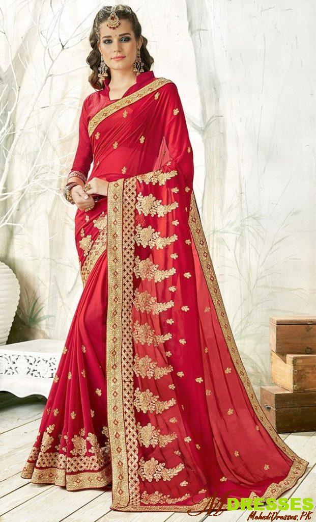 Best red Saree Stone Work Designs