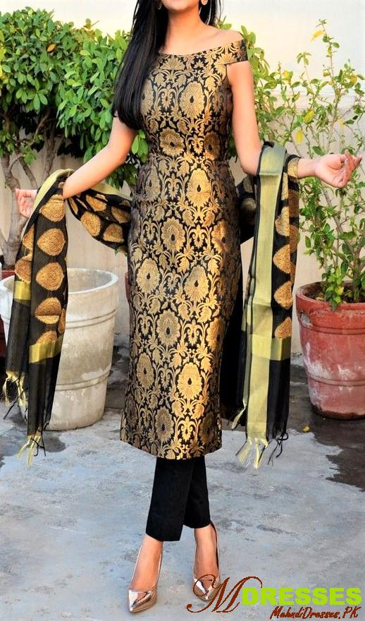 black Off Shoulder pakistani for winter