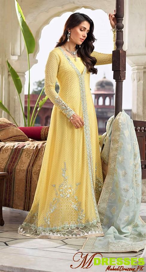 Faiza saqlain formal yellow dresses designs