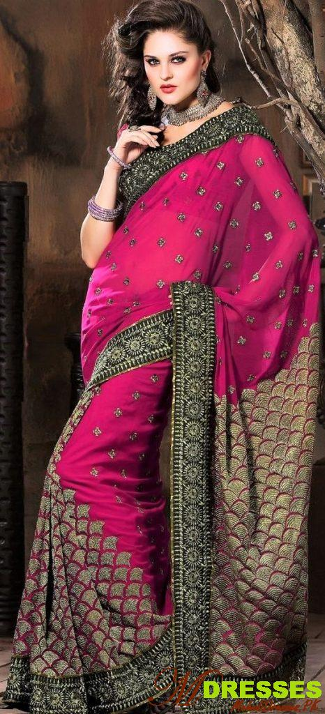 red and magenta Saree Color Combinations for wedding