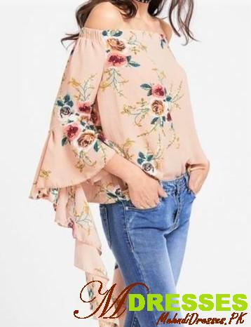 off shoulder tops for Girls with blue jeans