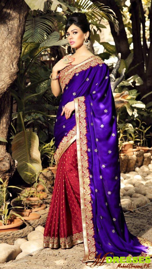 purple Saree with red blouse for wedding in Pakistan