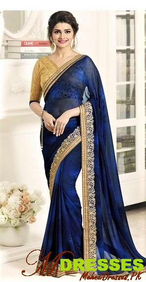 royal blue saree with golden border