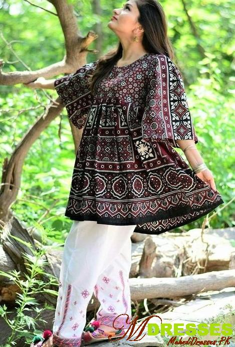 Sindhi Ajrak Shawl Pakistani Traditional Dresses for Girls