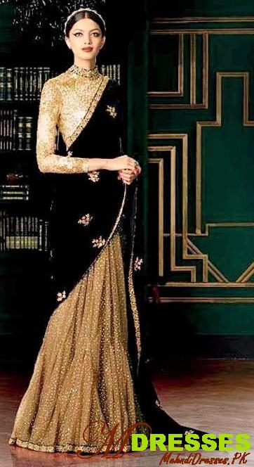 black and Golden Saree Combinations in pakistan