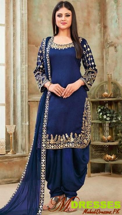 Royal Blue Punjabi Shalwar Kameez Design
