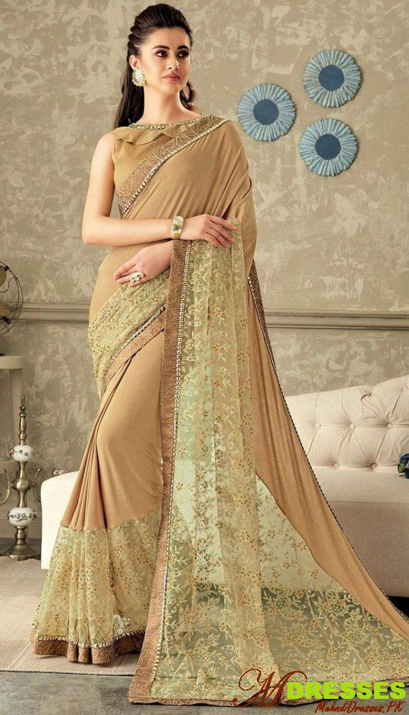 plain golden saree