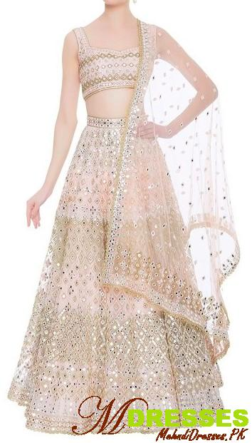 fancy mirror embroidery lehnga design