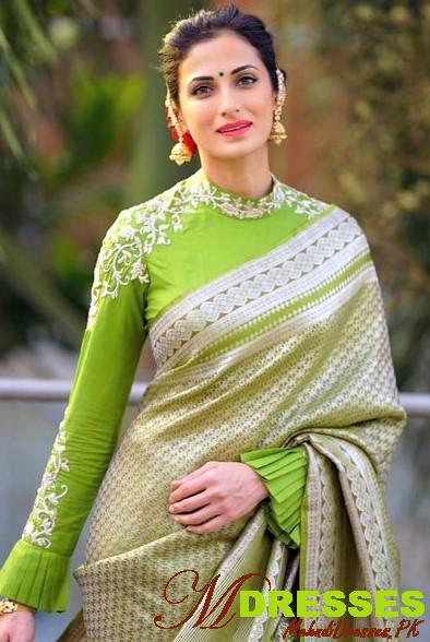 green and pink blouse saree Saree Color Combinations for wedding