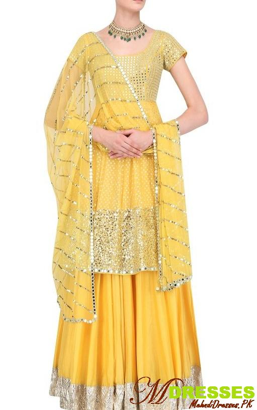 Yellow mirror kurti design