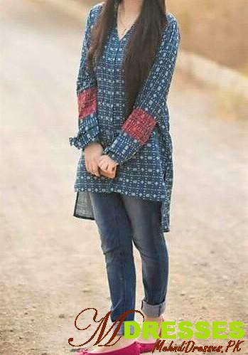 Printed Winter Tops for Girls with jeans