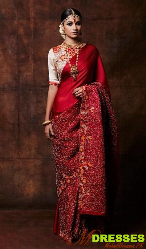 Red and golden Saree Color Combinations for wedding