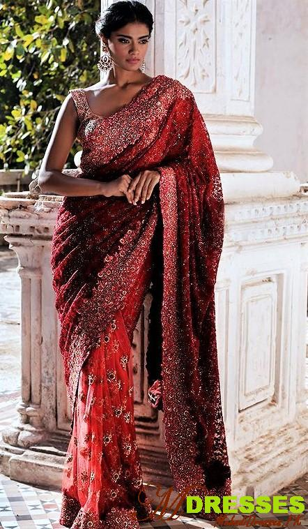 Red and silver saree Color Combinations