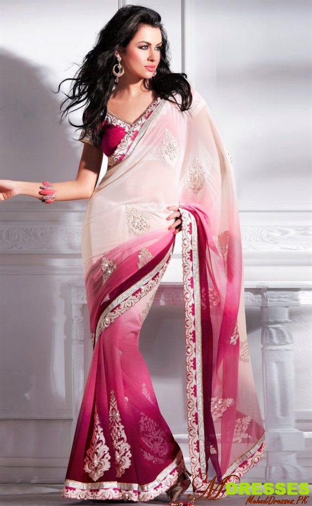 White saree with red blouse color for wedding in Pakistan