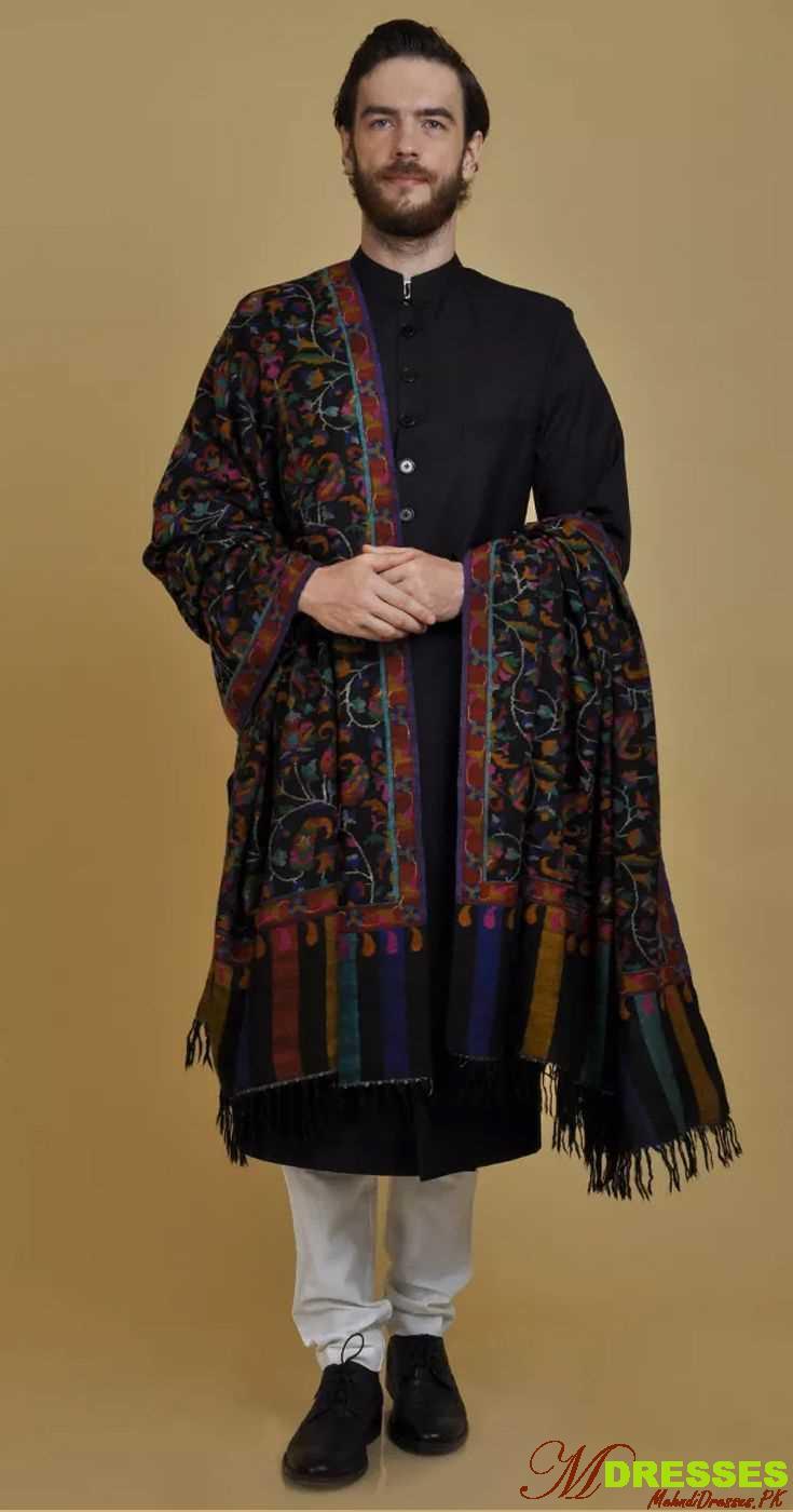 mehroon sherwani design with shawl
