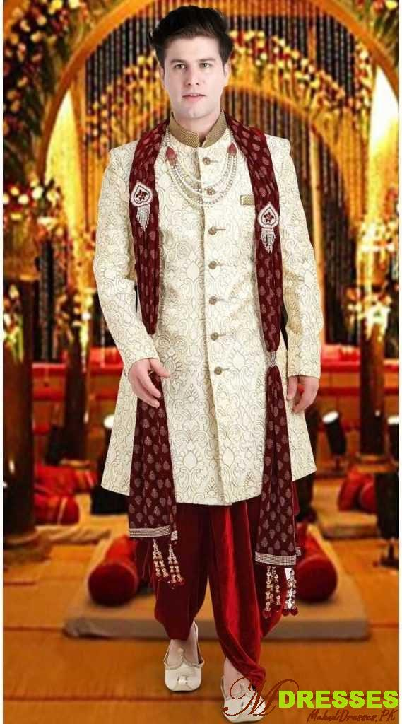 white groom sherwani dhoti style in Pakistan
