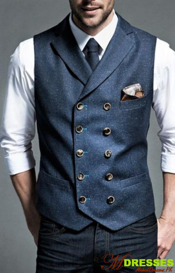 men Waistcoat with Jeans for wedding