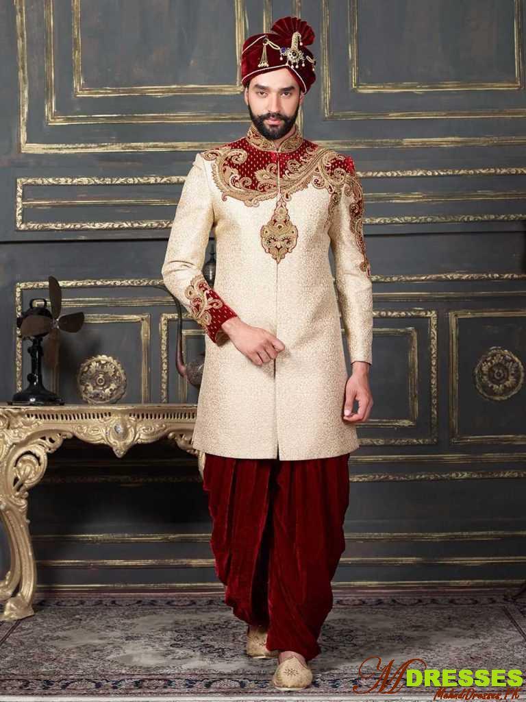 cream color Dhoti Style Sherwani for Wedding
